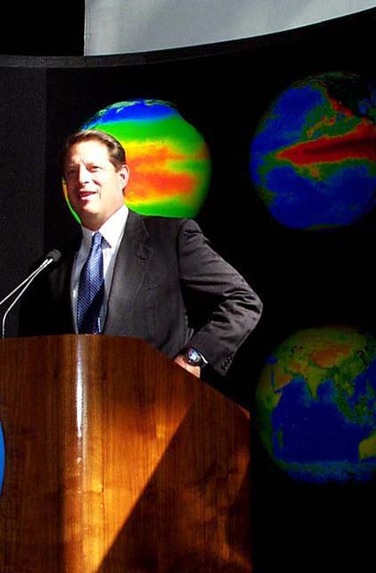 Former VP Al Gore with SeaWiFS biosphere in lower right. Credit: Gene Feldman.