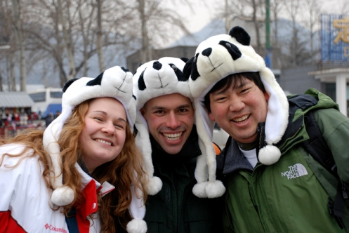 Laura Dover, Bob Chen and I all got panda hats at the Ming Tomb on our first full day in Beijing.  Credit: Lundie Spence.