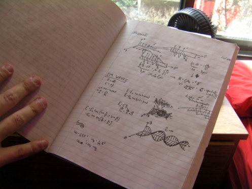 Katz took an advanced physics class at Stony Brook.  He cherishes this page of his notebook, when his professor began teaching about electromagnetism.
