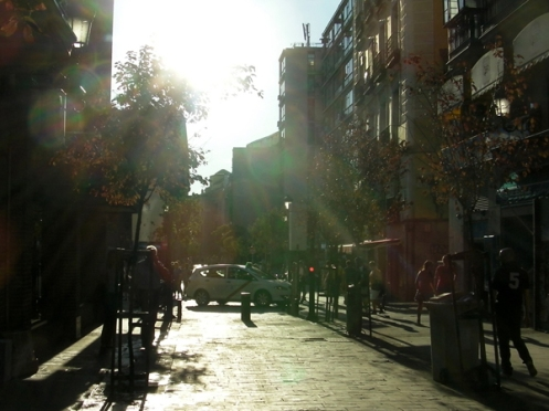 Spain receives a lot of sunshine, and the streets of Madrid are no exception.
